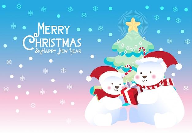 Wesołych świąt prezent niedźwiedzi polarnych