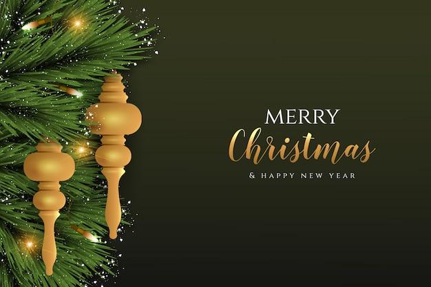 Wesołych świąt realistyczne elementy dekoracji wektorowej