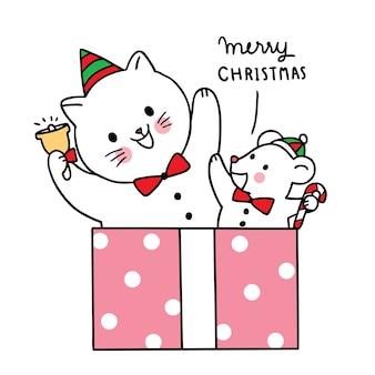 Wesołych świąt ręcznie narysuj kreskówkę słodkiego kota i moues w dużym pudełku.