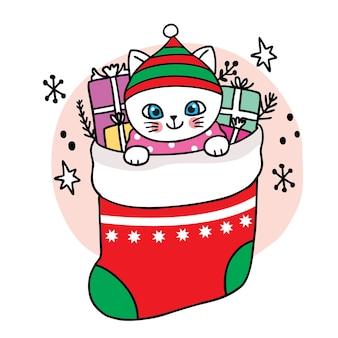 Wesołych świąt ręcznie narysuj kreskówkę słodkiego kota i pudełko w dużej skarpecie.