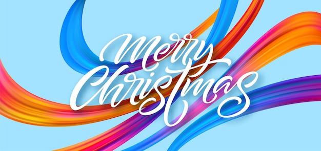 Wesołych świąt ręcznie rysowane napis projekt transparentu. boże narodzenie pozdrowienia z tęczowymi wstążkami akrylowymi. żywe pociągnięcia pędzlem olejnym. wesołych świąt. ilustracja wektorowa na białym tle