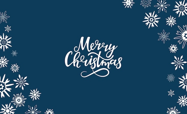 Wesołych świąt ręcznie rysowane napis. rama pozioma wykonana z płatków śniegu. kartkę z życzeniami na święta nowego roku.