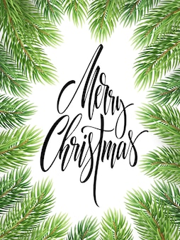 Wesołych świąt ręcznie rysowane napis w ramie gałęzie jodły. boże narodzenie kaligrafia na białym tle. boże narodzenie napis w realistycznej ramie gałązki świerkowe. baner, projekt plakatu. izolowany wektor