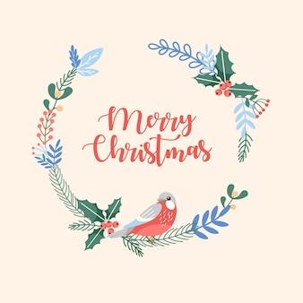 Wesołych świąt ręcznie rysowane ozdobny ornament kwiatowy okrągłe tło obchody bożego narodzenia