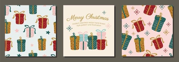 Wesołych świąt ręcznie rysowane układ prezentów