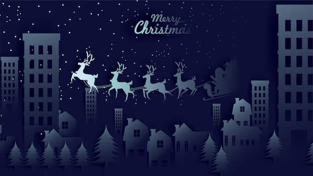 Wesołych świąt sanie świętego mikołaja reniferów