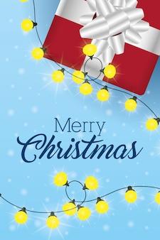 Wesołych świąt sceny z prezentem i światła