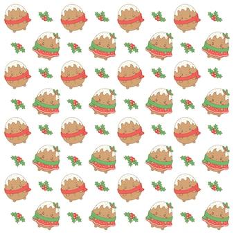 Wesołych świąt słodkie ciasteczka imbirowe rysunek wzór tła do pakowania prezentów