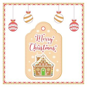 Wesołych świąt słodkie ciasteczko z piernika rysunek tag karty na sezon zimowy z kolorowymi ozdobami