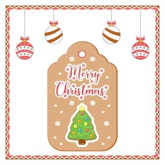 Wesołych świąt słodkie imbirowe drzewo cookie rysunek karta tag na sezon zimowy z kolorowymi ozdobami