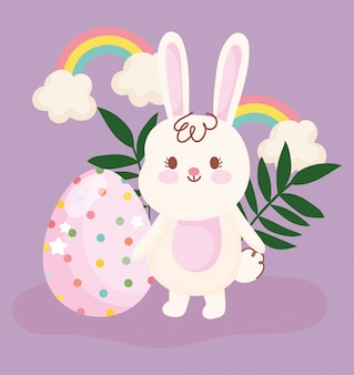 Wesołych świąt słodkie króliki i jaja tęcze kwiatowy wystrój