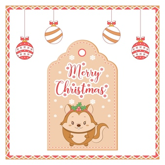 Wesołych świąt słodkie wiewiórki z karty z tagiem rysunek śnieżynka z kolorowymi ornamentami