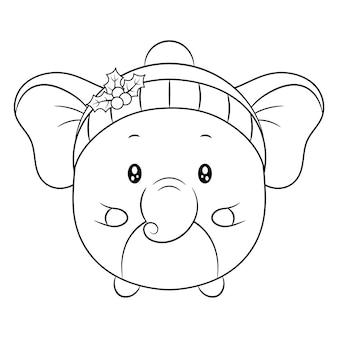Wesołych świąt słodkie zwierzę rysunek szkic do kolorowania z jagodami