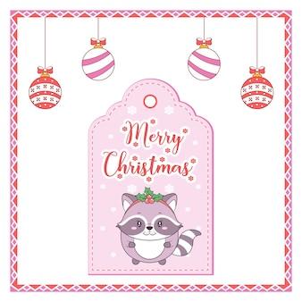 Wesołych świąt słodkie zwierzę rysunek tag karty z kolorowymi ornamentami i ramką z cukierków