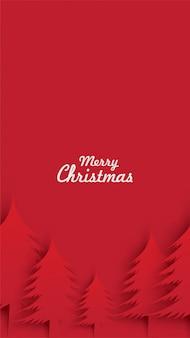 Wesołych świąt sosny w stylu cięcia papieru sztuki