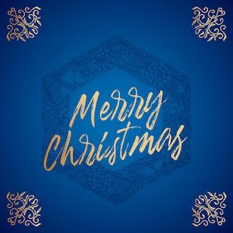 Wesołych świąt streszczenie wektor retro etykieta znak lub szablon karty ręcznie rysowane sześciokąt sosna wieniec sk...