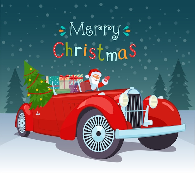 Wesołych świąt stylizowana typografia. vintage czerwony kabriolet z mikołajem, choinką i pudełkami na prezenty.