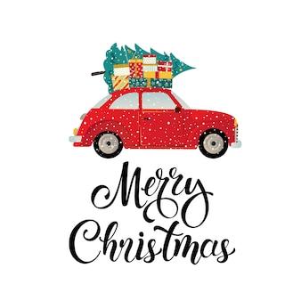 Wesołych świąt stylizowane typografia rocznika czerwony samochód