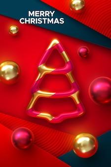 Wesołych świąt świąteczna dekoracja złotej bombki choinkowej z kulkami na czerwonych warstwach papieru