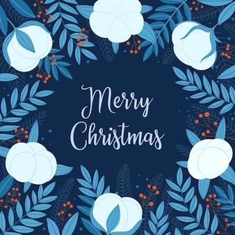 Wesołych świąt. świąteczna kartka z bawełnianymi gałązkami, gałęziami jodły, liśćmi i jagodami