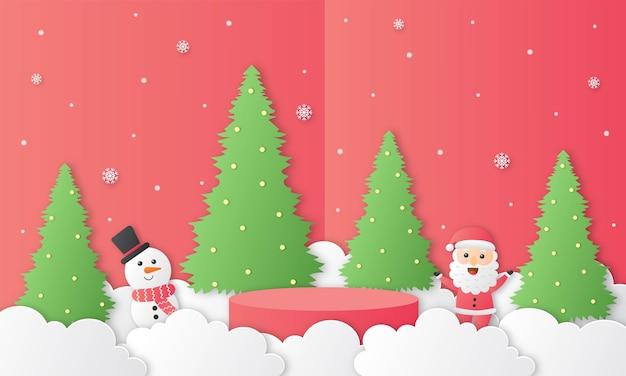 Wesołych świąt święty mikołaj i bałwan w kształcie geometrii podium motyw świąteczny wycinany papier czerwone tło prezentacja stoiska produktów w minimalistycznym stylu