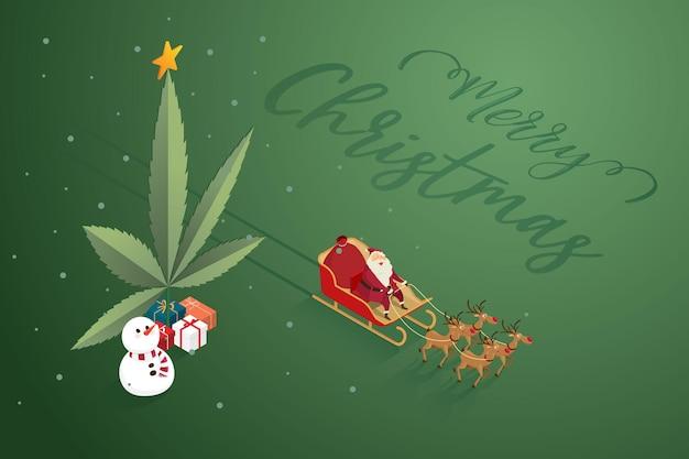 Wesołych świąt święty mikołaj z bałwanami reniferowymi liść marihuany i stos prezentów na baner internetowy