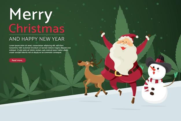 Wesołych świąt święty mikołaj z reniferem i bałwanem na drzewie liścia marihuany