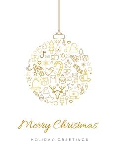 Wesołych świąt szablon karty z pozdrowieniami. sylwetka bombki bożonarodzeniowej z napisem, liniowe świąteczne ikony