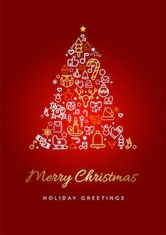 Wesołych świąt szablon karty z pozdrowieniami. sylwetka choinki z literami i liniowymi świątecznymi ikonami