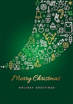 Wesołych świąt szablon karty z pozdrowieniami. sylwetka i napis blizzarda, liniowe świąteczne ikony świąteczne
