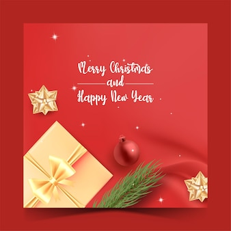 Wesołych świąt szablon postu w mediach społecznościowych z pudełkiem na prezent