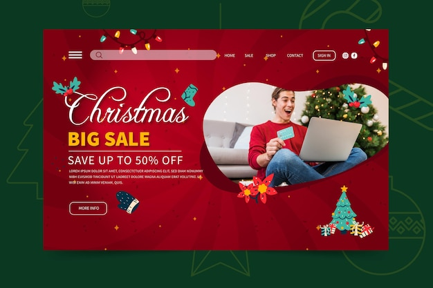 Wesołych świąt szablon strony docelowej sprzedaży