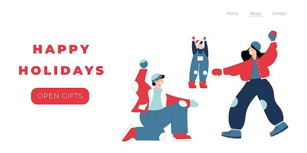 Wesołych świąt szablon strony docelowej z ręcznie rysowanymi ludźmi postaci rodziny grającej śnieżkami