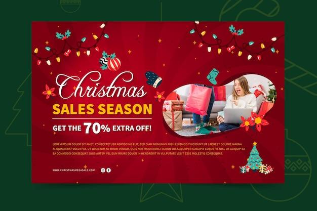 Wesołych świąt Szablon Transparent Sprzedaży Premium Wektorów