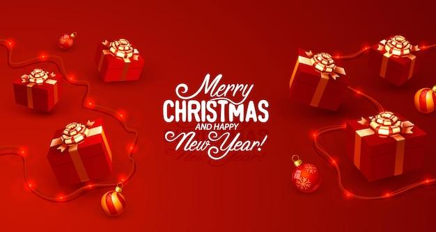 Wesołych świąt szczęśliwego nowego roku drzewo z banerem karty zabawek wektor