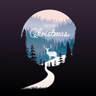 Wesołych świąt, szczęśliwego nowego roku, kaligrafii, zimą krajobraz