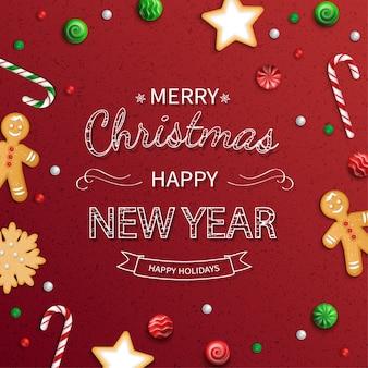 Wesołych świąt szczęśliwego nowego roku kartkę z życzeniami. napis logo ze słodyczami, ciasteczkami, lizakami, cukierkami