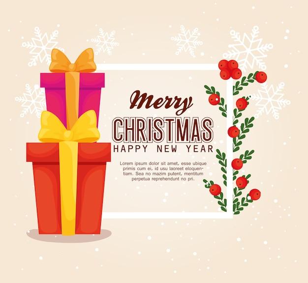 Wesołych świąt szczęśliwego nowego roku prezenty i jagody esign, sezon zimowy i dekoracje
