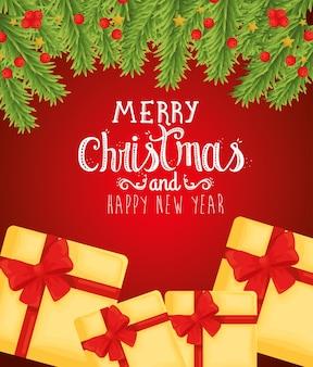 Wesołych świąt szczęśliwego nowego roku prezenty projekt, sezon zimowy i dekoracje