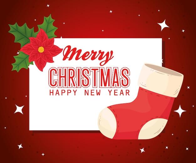 Wesołych świąt szczęśliwego nowego roku projekt butów i kwiatów, sezon zimowy i dekoracja