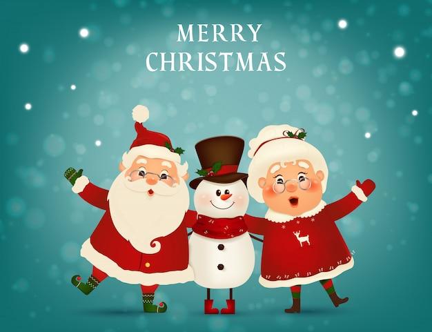 Wesołych świąt. szczęśliwego nowego roku. śmieszny święty mikołaj z uroczą panią mikołajową, bałwan w zimowym krajobrazie świątecznej sceny śniegu. pani mikołajowa razem.