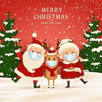 Wesołych świąt. szczęśliwego nowego roku. śmieszny święty mikołaj z uroczą panią mikołajową, reniferem z czerwonymi nosami w masce medycznej w zimowym krajobrazie świątecznej sceny śniegu. postać z kreskówki świętego mikołaja.