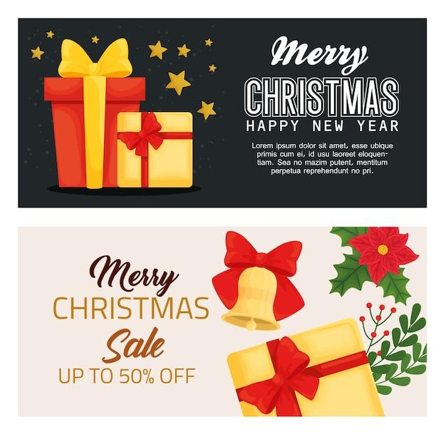 Wesołych świąt szczęśliwego nowego roku sprzedaż i projektowanie prezentów, sezon zimowy i dekoracje