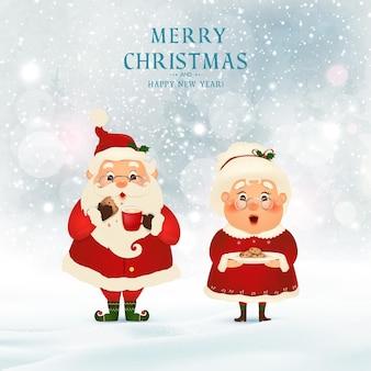 Wesołych świąt. szczęśliwego nowego roku. święty mikołaj z panią mikołajową w świątecznej scenie śniegu. postać z kreskówki świętego mikołaja.