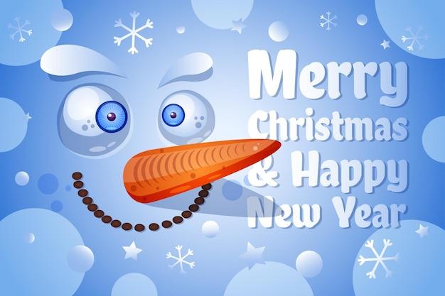 Wesołych świąt, szczęśliwego nowego roku szablon wektor kartkę z życzeniami. śmieszna twarz bałwana płaska ilustracja