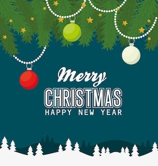 Wesołych świąt szczęśliwego nowego roku z kulkami, gwiazdami i liśćmi, sezonem zimowym i dekoracją