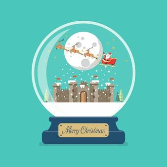 Wesołych świąt szklana kula z saniami świętego mikołaja latające nad zamkiem ilustracja