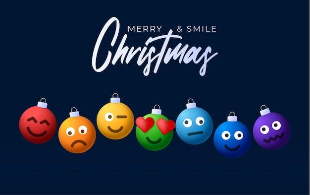 Wesołych świąt tęczowe kulki z ładną twarzą kartkę z życzeniami. emotikony na zabawkach bąbelkowych. wektor do dekoracji świątecznej choinki. element projektu baner sprzedaż szczęśliwego nowego roku, ulotka, plakat, tło