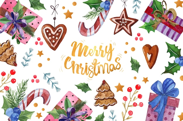 Wesołych świąt tekst otoczony świątecznych dekoracji