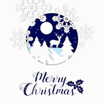 Wesołych świąt tekst, śnieżynka i piłka papieru wyciąć stylu